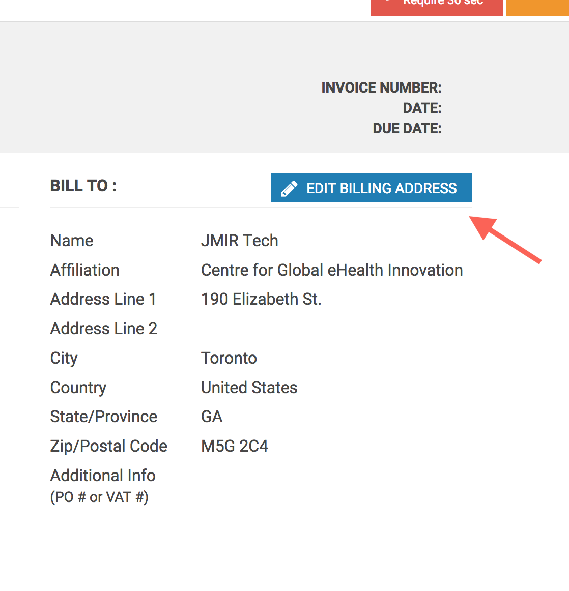 how do i change the billing address on my invoice jmir publications